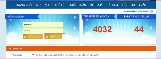 """Hướng dẫn tham gia cuộc thi: """"TÌM HIỂU PHÁP LUẬT TRÊN INTERNET"""""""